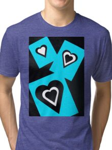 Hearts in Black Turquoise and White No Text Tri-blend T-Shirt