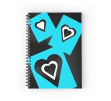 Hearts in Black Turquoise and White No Text Spiral Notebook