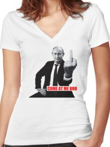 Finger Funny Come at me Bro white t-shirt TC9496 Women's Fitted V-Neck T-Shirt