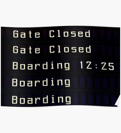 Airport information board. Poster