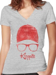 Kloppite Women's Fitted V-Neck T-Shirt