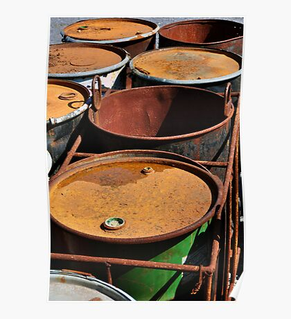 Old rusty waste barrels. Poster