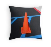 """Warning: Cone Crossing"" Throw Pillow"