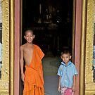 Temple guardians, Wat Pak Ou, Luang Prabang, laos by John Spies