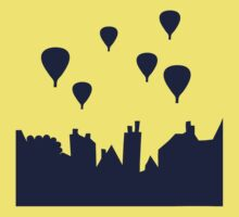Hot air balloon over the rooftops Kids Tee