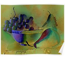 Still Life Grapes and Pears  Poster