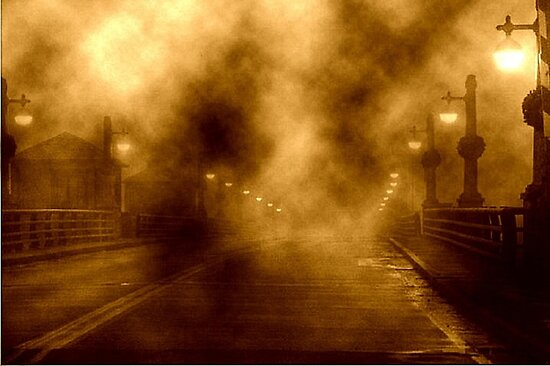 Foggy Night at the Bridge by Holly Martinson