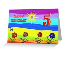 Childs Rainbow  5th Birthday Card Greeting Card