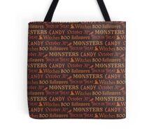 Brown Halloween Words Tote Bag