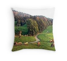 """Grazing In The Alps - Koblach, Austria"" Throw Pillow"