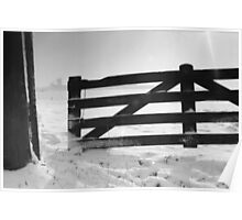 Fence in snow landscape Poster