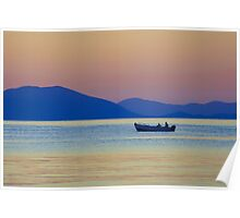 Single Fishing Boat Gliding by the Peloponnese. Poster