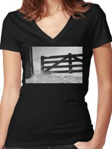 Fence in snow landscape Women's Fitted V-Neck T-Shirt