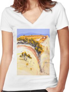On the boundary Women's Fitted V-Neck T-Shirt