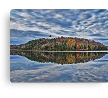 Gull in Flight over Lake - Fall Autumn Forest, Clouds & Blue Sky Reflections in Water Canvas Print