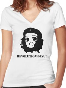 Manga Anime Girl Che Guevara Women's Fitted V-Neck T-Shirt