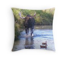 Mooster and Ducks © Throw Pillow