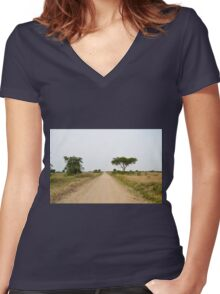 road in the African savanna Women's Fitted V-Neck T-Shirt