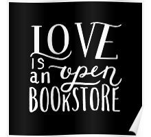 Love is an Open Bookstore Black Poster