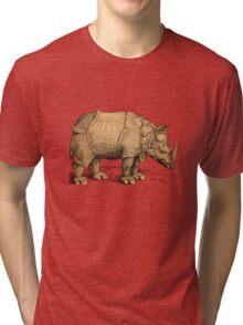 Vintage Rhinoceros Illustration Tri-blend T-Shirt