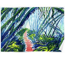 Watercolour of Forest with Hanging Moss Poster