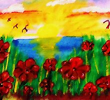 Looking past th flowers at the sunset, watercolor by Anna  Lewis