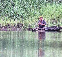 Amazon Solitary Fisherman - Upper Amazon Basin, Peru by Edith Reynolds