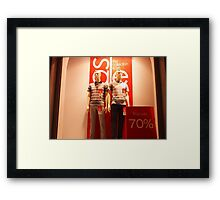 Two male mannequin in a showcase Framed Print