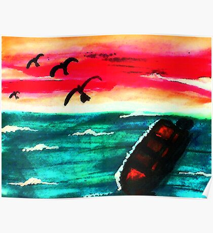 A beautiful day is over, watercolor Poster