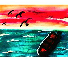A beautiful day is over, watercolor Photographic Print