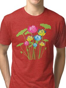 Colorful water lily flowers Tri-blend T-Shirt