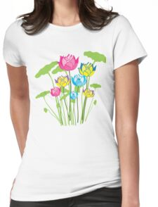 Colorful water lily flowers Womens Fitted T-Shirt