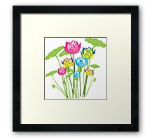 Colorful water lily flowers Framed Print
