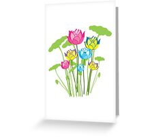 Colorful water lily flowers Greeting Card