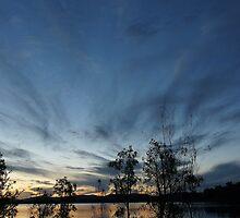 Crescent moon at dusk, Lake Samsonvale, Queensland. by Ian Hallmond