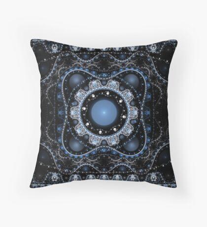 Blue Julian Abstract Fractal Throw Pillow