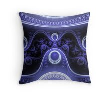Blue Moon Abstract Fractal Throw Pillow