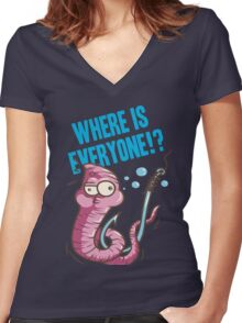 Where is Everyone Women's Fitted V-Neck T-Shirt