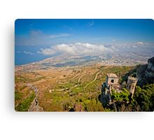 View from erice mountain towards Trapani Canvas Print