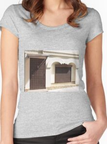 The facade of a small house Women's Fitted Scoop T-Shirt