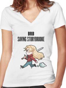 BRB - saving storybrooke Women's Fitted V-Neck T-Shirt