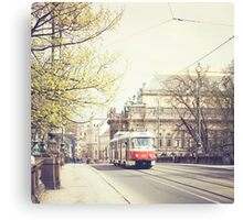 red tram ii, prague Canvas Print