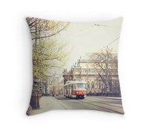 red tram ii, prague Throw Pillow