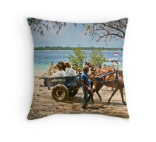Cidomo horse carts of the Gili Islands 4 Throw Pillow