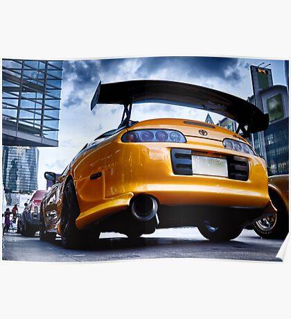 TOYOTA SUPRA - Pimped street car racer Back Poster