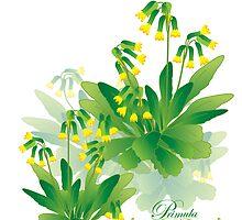 meadow flower yellow primrose design by Veera Pfaffli