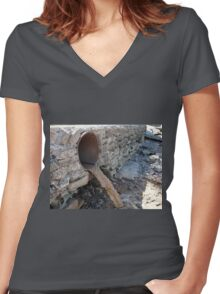 Dirty water flows from a brown rusty sewer pipes Women's Fitted V-Neck T-Shirt