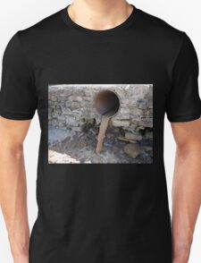 Dirty water flows from a brown rusty sewer pipes Unisex T-Shirt