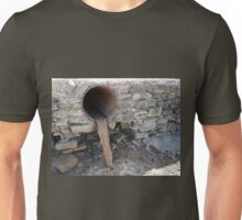 Dirty water flows from a brown rusty canalization pipes Unisex T-Shirt