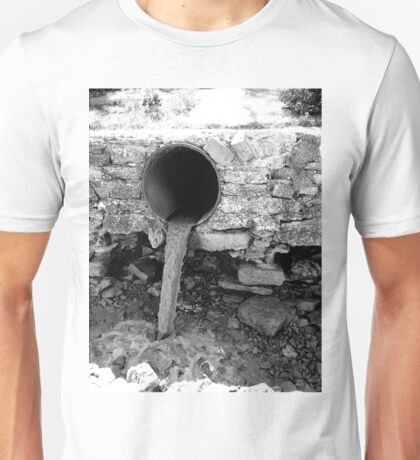 Monochrome view of the dirty water flows Unisex T-Shirt
